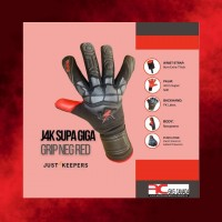 J4K SUPA GRIP NEGATIVE CUT PALM  GOALKEEPER GLOVE SPECIFCATIONS  WRIST STRAP: 9cm Extra Thick Wrist Strap For Added Support. PALM:4mm Giga Grip Latex – Excellent For Wet Weather. BACKHAND: Latex Neoprene + Silicone Print BODY:Neoprene Sublimation To Allow Hand To Breath PUNCH ZONE: Punch Zone Extended Across Fingers For Added Protection. GUSSETS:Mesh Gussets In between Fingers To Help With Breathability WRIST BRAND:Elasticated Single Strap For Tight Fit   For more info visit:https://www.goalkeeperglovescanada.ca/Goalkeeper-Gloves/J4K-Supa-Giga-Grip-Negative